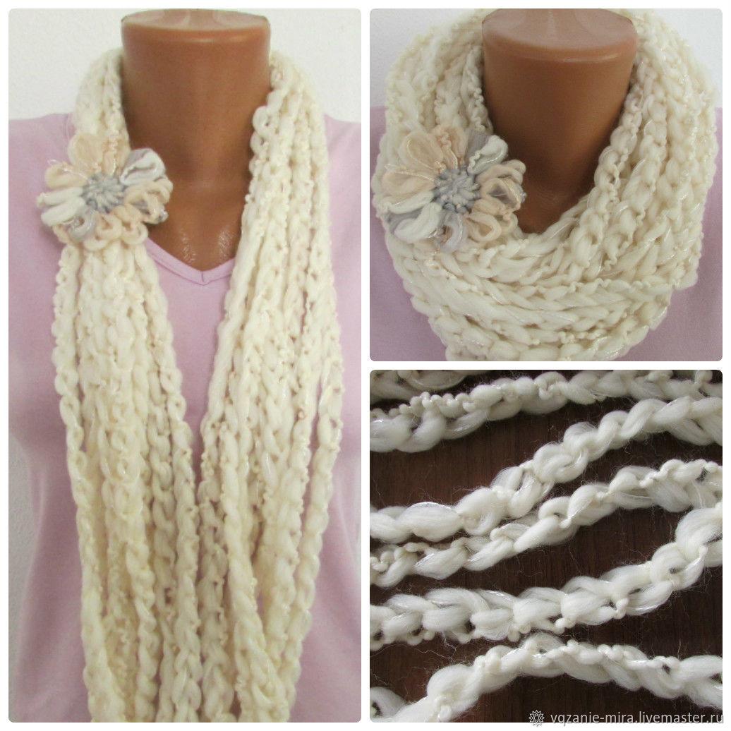 шарф с цветком из пряжи вязание крючком модный весенний шарф колье