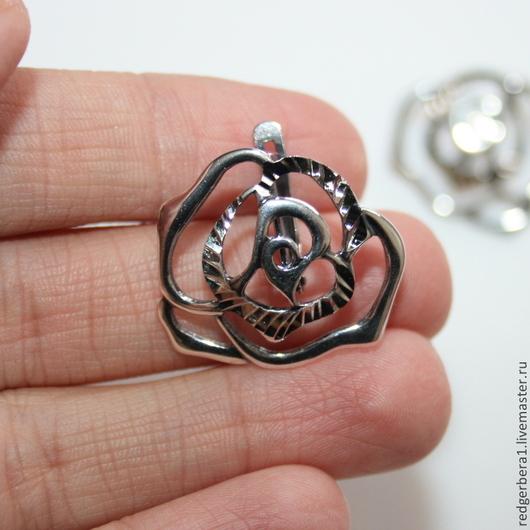 """Для украшений ручной работы. Ярмарка Мастеров - ручная работа. Купить Швензы """"Розы - алмазная грань"""" - серебрение 925 пробы. Handmade."""