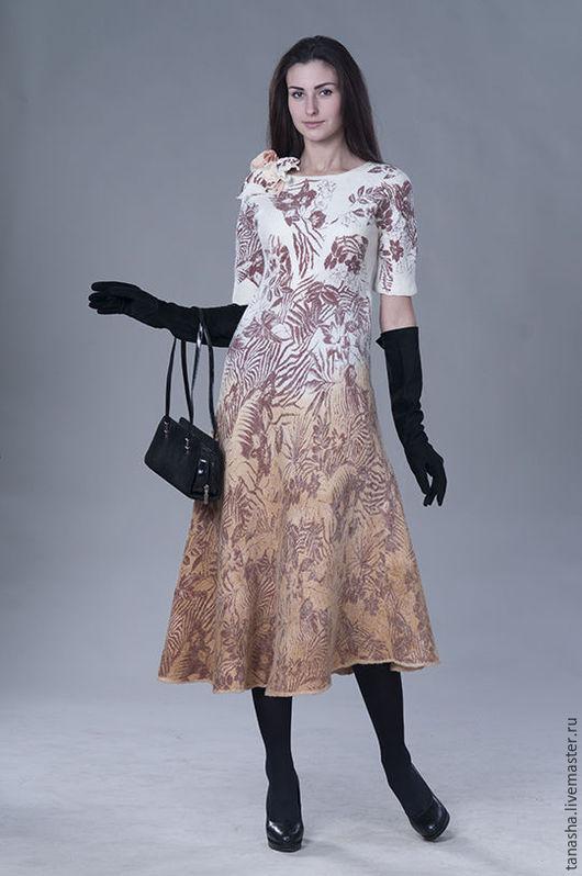 """Платья ручной работы. Ярмарка Мастеров - ручная работа. Купить Валяное платье """"Цветы осени"""". Handmade. Валяное платье"""