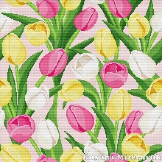 """Вышивка ручной работы. Ярмарка Мастеров - ручная работа. Купить Схема вышивки крестом """"Подушка - Тюльпаны"""". Handmade."""