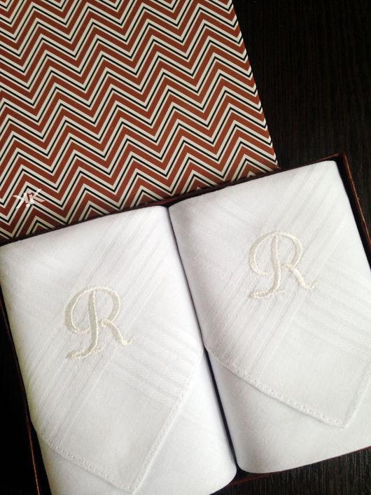 Носовые платочки ручной работы. Ярмарка Мастеров - ручная работа. Купить Носовые платочки  мужские  с вышивкой  Монограмма Набор. Handmade.