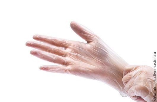 Валяние ручной работы. Ярмарка Мастеров - ручная работа. Купить Виниловые перчатки М 10пар. Handmade. Белый, перчатки для валяния