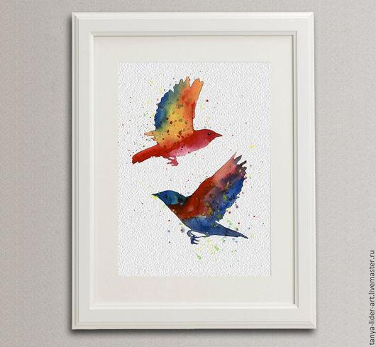 Картина ручной работы. Ярмарка Мастеров - ручная работа. Купить Акварель. Две птицы. Handmade.