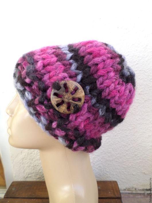 Шапки ручной работы. Ярмарка Мастеров - ручная работа. Купить Вязаная шапка Фиолетово-розовая. Handmade. Разноцветный, акрил