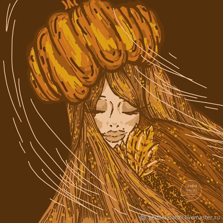 """""""Ветреная Осень"""" цифровой рисунок – купить на Ярмарке Мастеров – MMWU0RU   Иллюстрации и рисунки, Краснодар"""