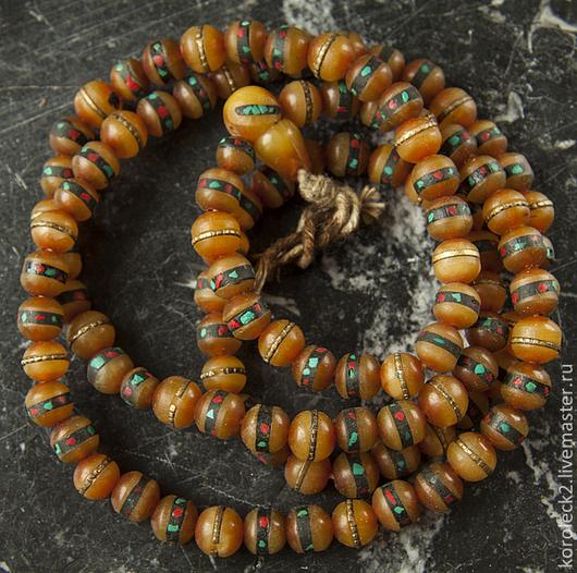 Для украшений ручной работы. Ярмарка Мастеров - ручная работа. Купить Тибетские бусины из имитации янтаря с инкрустацией. Handmade. Бусины