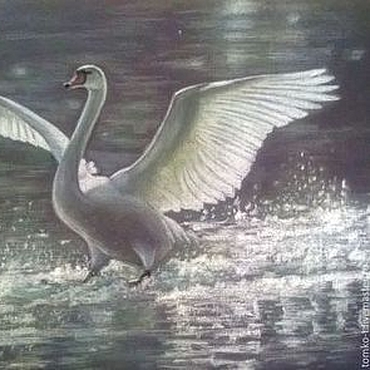 Картины и панно ручной работы. Ярмарка Мастеров - ручная работа Лебедь белый. Handmade.