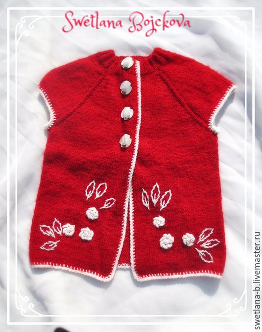 Кофты и свитера ручной работы. Ярмарка Мастеров - ручная работа. Купить кардиган для девочки. Handmade. Ярко-красный, цветочный