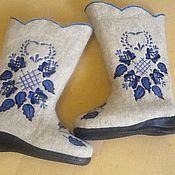 """Обувь ручной работы. Ярмарка Мастеров - ручная работа Валенки """"Гжель3"""". Handmade."""