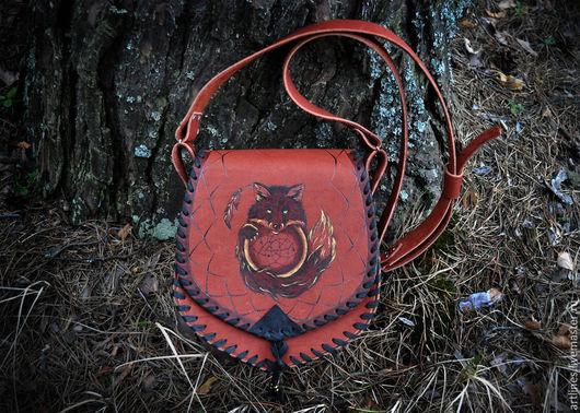 Женские сумки ручной работы. Ярмарка Мастеров - ручная работа. Купить Кожаная сумка через плечо, ручной работы. Тотем - лиса.. Handmade.