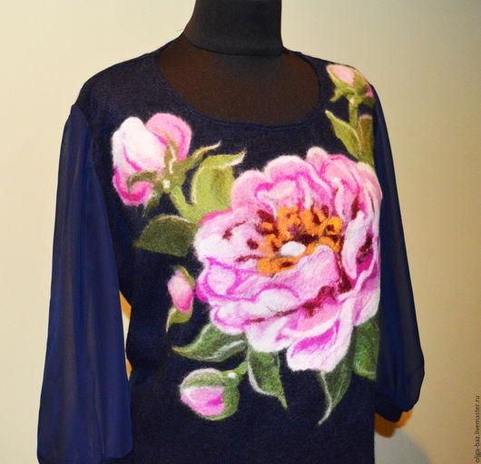 ` Волшебный пион` трикотажная блуза с шифоновыми рукавами.