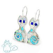 Украшения handmade. Livemaster - original item Earrings Cats. Exclusive earrings with turquoise, mother of pearl and lapis lazuli.. Handmade.