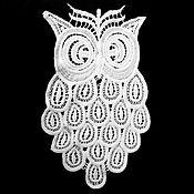 Аппликации ручной работы. Ярмарка Мастеров - ручная работа Сова из кружева. Handmade.