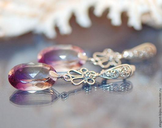 серьги с аметринами; серебряные серьги с аметринами; красивые серьги; авторские серьги; купить серьги в Москве; сиреневые серьги