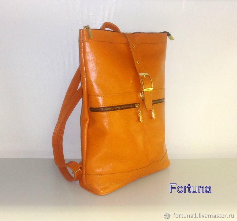 Backpack leather ' Orange', Backpacks, St. Petersburg,  Фото №1
