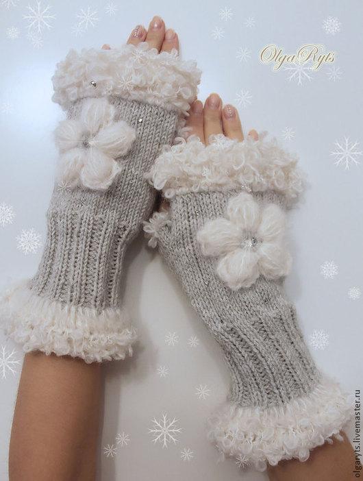 """Варежки, митенки, перчатки ручной работы. Ярмарка Мастеров - ручная работа. Купить Митенки """"Первый снег"""". Handmade. Серый, альпака"""