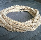 Украшения handmade. Livemaster - original item Beads Scarf Lariat Belt Harness Bracelet Braided Knitted Beige Boho. Handmade.
