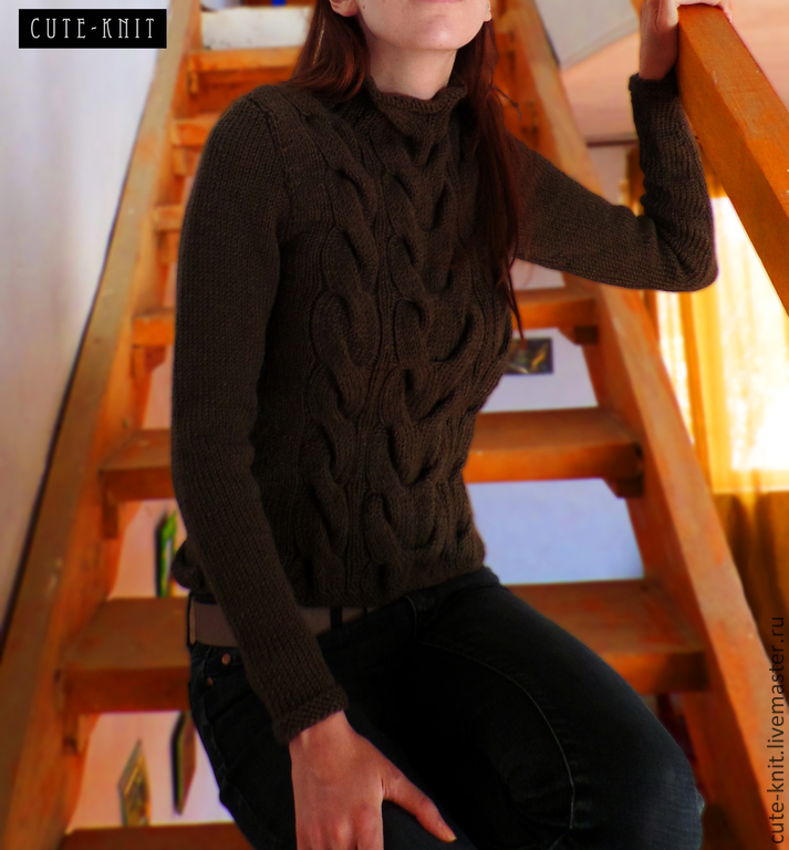To better visualize the model, click on the photo. CUTE-KNIT NAT Onipchenko Fair masters to Buy knitted sweater womens brown