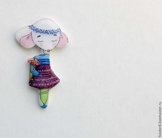 """Броши ручной работы. Ярмарка Мастеров - ручная работа. Купить Брошь """"Мышка"""" (0128). Handmade. Фиолетовый, розовый, мышь, мышки"""