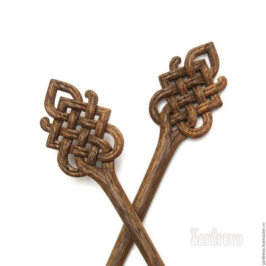 Заколки ручной работы. Ярмарка Мастеров - ручная работа. Купить Шпильки из дерева резные(Черный орех). Handmade. Коричневый, палочки