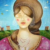 Картины ручной работы. Ярмарка Мастеров - ручная работа Картина маслом женщина. Handmade.