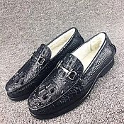 Обувь ручной работы handmade. Livemaster - original item Winter loafers, from the back of the crocodile skin, in black.. Handmade.