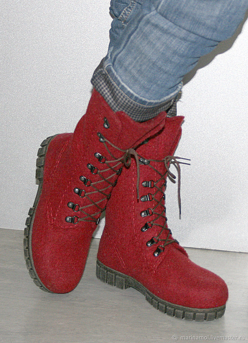 Women's felted boots Winter berry, Boots, Miass,  Фото №1
