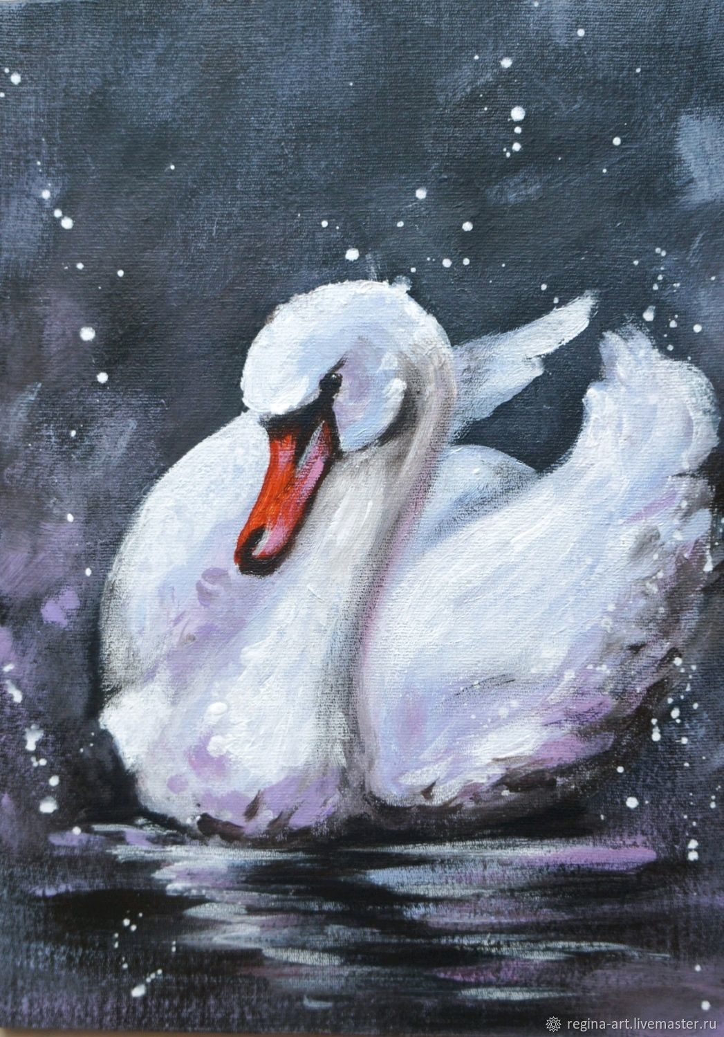 Swan white painting on canvas, Pictures, Kemerovo,  Фото №1