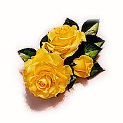 """Украшения ручной работы. Ярмарка Мастеров - ручная работа Заколка крокодил """"Желтые розы"""". Handmade."""