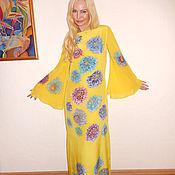Одежда ручной работы. Ярмарка Мастеров - ручная работа платье с длинными рукавами- Лимон и хризонтемы. Handmade.