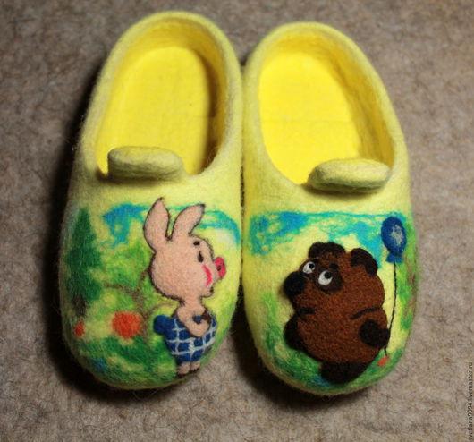 Обувь ручной работы. Ярмарка Мастеров - ручная работа. Купить Тапочки детские валяные Любимые мультики.. Handmade. Желтый