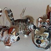 Подарки к праздникам ручной работы. Ярмарка Мастеров - ручная работа Котофей. Елочные игрушки из папье-маше. Handmade.