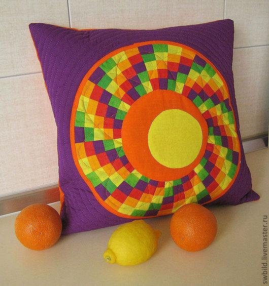 """Текстиль, ковры ручной работы. Ярмарка Мастеров - ручная работа. Купить Подушка """"Апельсиновые и лимонные дольки"""". Handmade. Апельсин, желтый"""