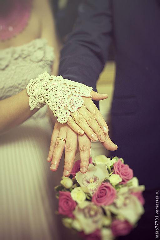 Одежда и аксессуары ручной работы. Ярмарка Мастеров - ручная работа. Купить Митенки для невесты, оттенок айвори, вязаные ажурные перчатки. Handmade.