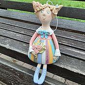 Куклы и игрушки handmade. Livemaster - original item Doll: Girl with a bouquet on the bench. Handmade.