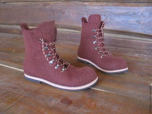 Обувь ручной работы. Ярмарка Мастеров - ручная работа. Купить Валяные ботинки PASSENGER-2. Handmade. Коричневый, бежевый цвет
