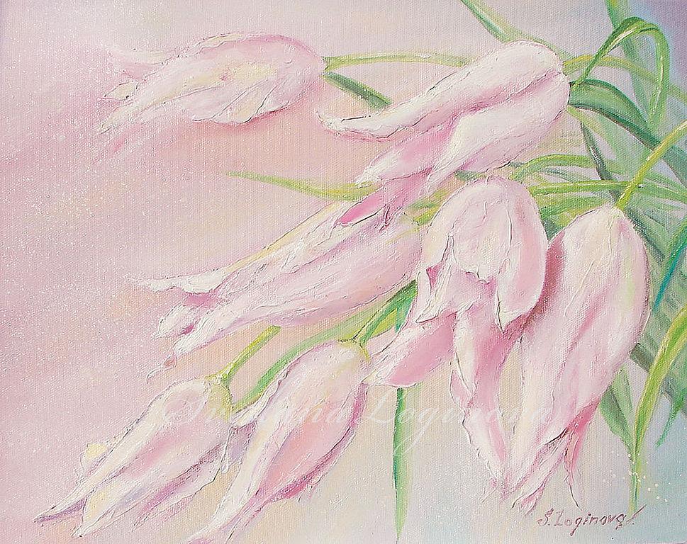 Нежные тюльпаны-холст, масло, Картины, Находка,  Фото №1
