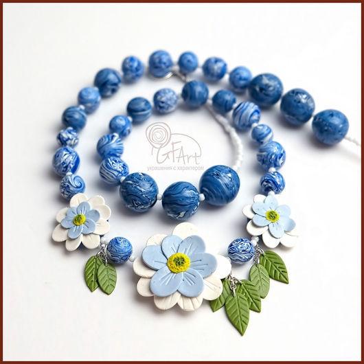 Колье, бусы ручной работы. Ярмарка Мастеров - ручная работа. Купить Колье с цветами голубое Нежность. Handmade. Голубой