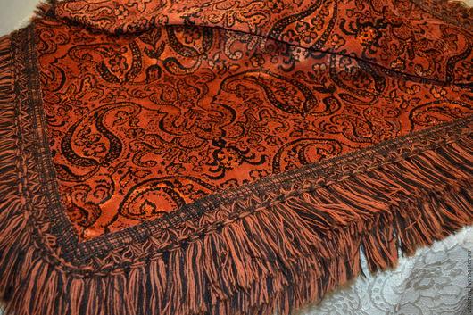 Текстиль, ковры ручной работы. Ярмарка Мастеров - ручная работа. Купить Cкатерть, покрывало  ковровый бархат терракот,Бельгия 50-х. Handmade.