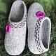 Обувь ручной работы. Ярмарка Мастеров - ручная работа. Купить домашние валяные тапочки из натуральной шерсти Розовая пуговка. Handmade.