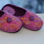 """Обувь ручной работы. Ярмарка Мастеров - ручная работа Валяные тапки """"On the verge of violet"""" войлочные тапочки с подпяточник. Handmade."""