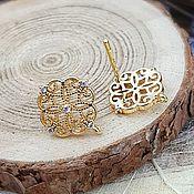 Материалы для творчества handmade. Livemaster - original item Earrings studs with zircons 13h12 mm gold plated (4011). Handmade.