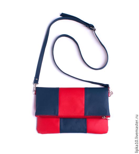 Женские сумки ручной работы. Ярмарка Мастеров - ручная работа. Купить Сумка через плечо  фолдовер сине-красная. Handmade.