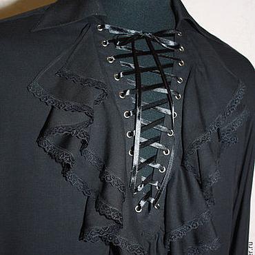 Одежда ручной работы. Ярмарка Мастеров - ручная работа Батистовая мужская рубашка с жабо и шнуровкой. Handmade.