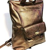 Сумки и аксессуары handmade. Livemaster - original item Toledo.  Bronze Womens leather backpack bag. Handmade.