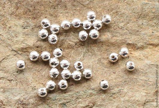 Для украшений ручной работы. Ярмарка Мастеров - ручная работа. Купить 015С Бусинки 3 мм 10 шт из серебра 925 пробы. Handmade.