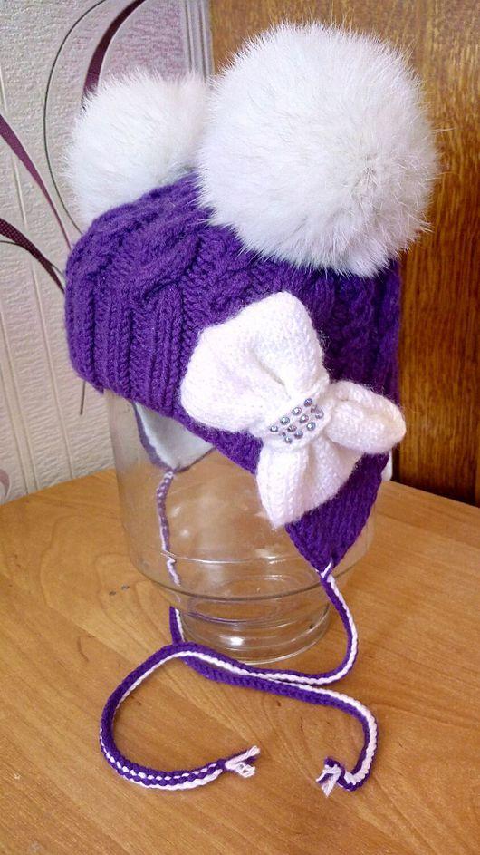 Шапки и шарфы ручной работы. Ярмарка Мастеров - ручная работа. Купить Детская зимняя шапка с помпонами. Handmade. Тёмно-фиолетовый