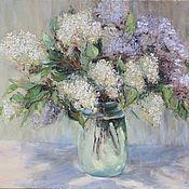 Картины и панно handmade. Livemaster - original item Oil painting Bouquet of lilac White. Handmade.