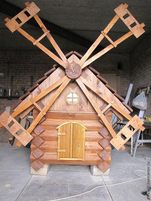 Экстерьер и дача ручной работы. Ярмарка Мастеров - ручная работа. Купить мельница деревянная декоративная украшение для сада. Handmade. Коричневый