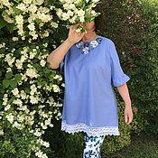 Одежда handmade. Livemaster - original item tunic: Linen tunic with embroidery